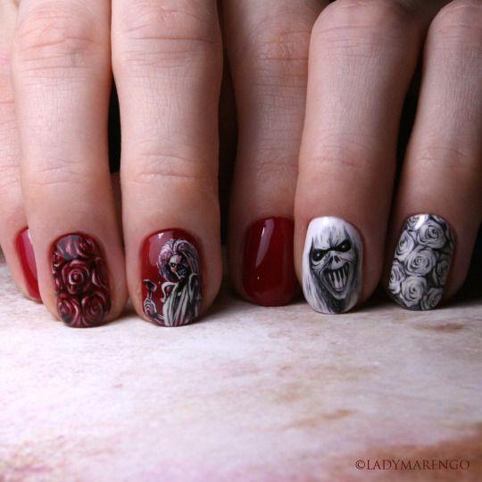 #IronMaiden Nails   #geeknails #ladymarengo #шеллак #гельлак #нейларт #ногти #маникюр #дизайнногтей #nailart #naildesign #nails #айронмейден #rock #рок