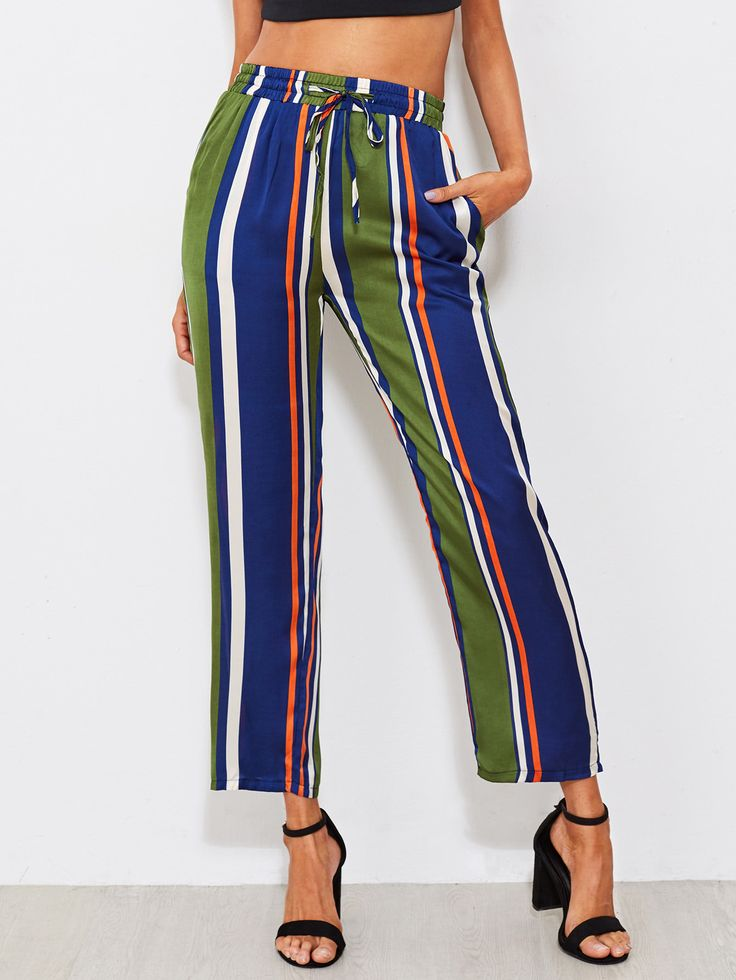 Shop Multi Vertical Striped Drawstring Pants online. SheIn offers Multi Vertical Striped Drawstring Pants & more to fit your fashionable needs.