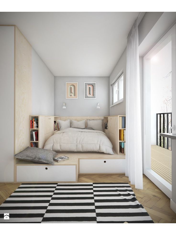 Love the storage draws underneath the bed for tiny bedrooms