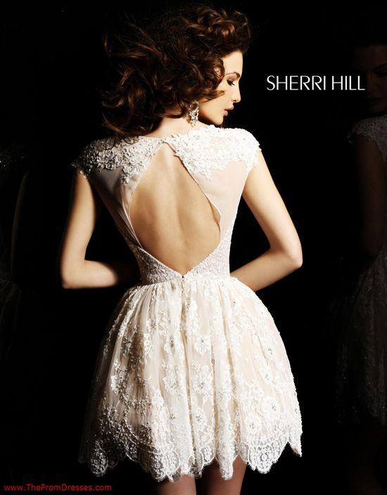 Beautiful Ivory Lace Graduation Dress - Open Back Ivory Short Lace Prom Dress - Sherri Hill 2957 - ThePromDresses.com