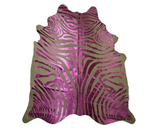 Zebra Rindsleder Teppich Rosa metallischen Streifen Pink ...…