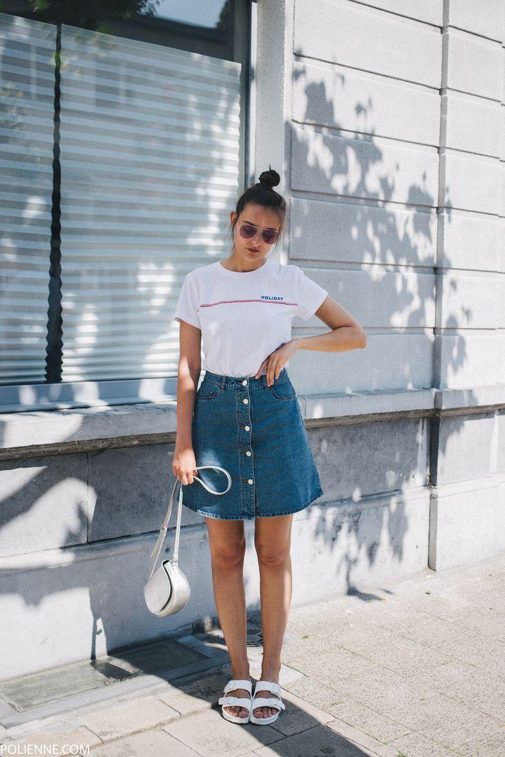 POLIENNE by Paulien Riemis | wearing a Samsoe & Samsoe tee and Noisy May denim skirt in Antwerp, Belgium