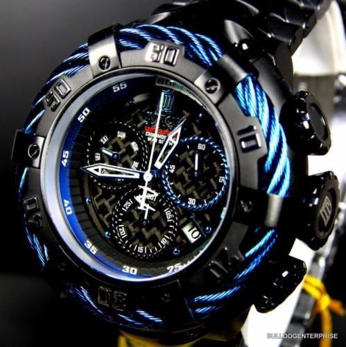 Invicta Reserve Thunderbolt JT Jason Taylor 56mm Blue Black Steel Watch New