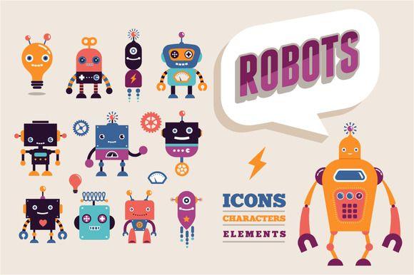 Vintage robots set by Marish on Creative Market