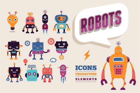 Vintage robots set by Marish on Creative Market