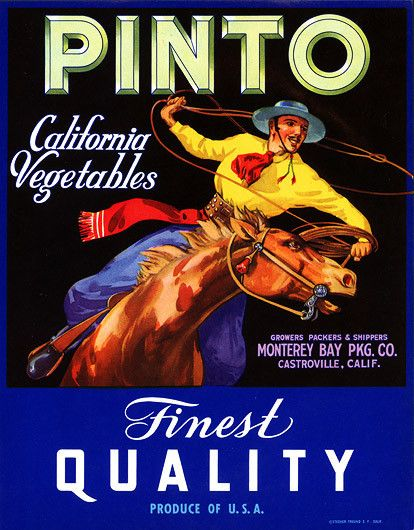 'Pinto California Vegetables. Finest Quality. Produce of U.S.A. Growers, Packers & Shippers. Monterey Bay Pkg. Co. Castroville, Calif.' Circa 1930s. From the 1900s to 1950s fruit crate labels were use
