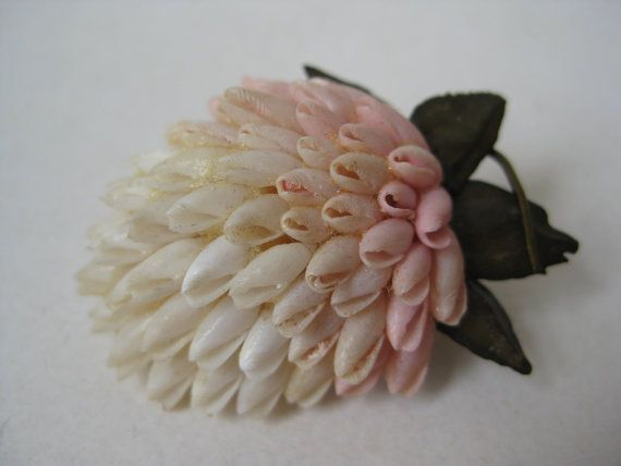 Flower Pink White Brooch Vintage Pin