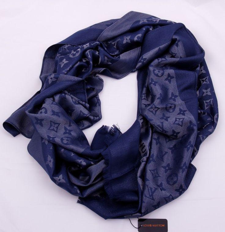 Шарф Louis Vuitton длинный на шею, теплый (шерсть + шелк + металлический люрекс), синий