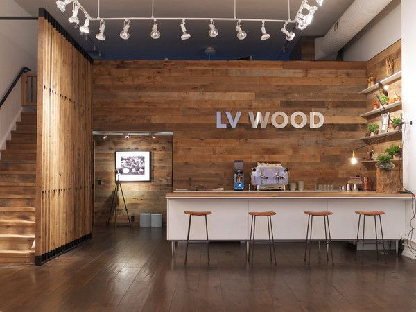 Lv wood flagship store reclaimed oak millwork wall in for Reclaimed wood new york
