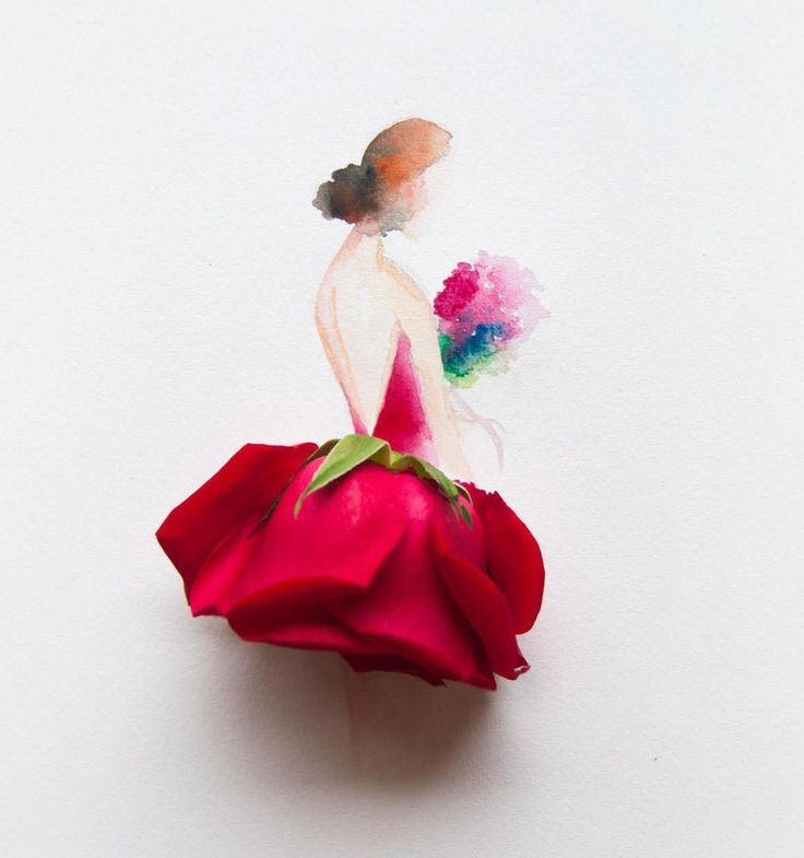 Malaysian artist, Lim Zhi Wei, has a knack for creating beautiful arts from flowers. She combines her watercolour illustrations with beautiful flowers and has created ballerina, beautiful woman wearing lovely dresses, and even animals like fish and goat in her work.