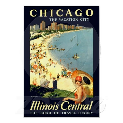 Chicago ~ Illinois Central ~ Vintage Train Travel Poster