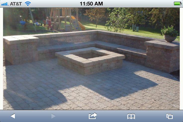 Like the corner square fire pit idea