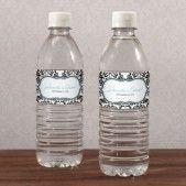 Les 10 étiquettes à bouteille d'eau damas 6€ http://www.decorationsdemariage.fr/76-etiquettes-a-bouteille-personnalisees