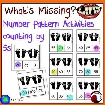 I use these as a Math Center Activity. These activity cards involve counting by 5 to complete Missing Number Patterns. Filling in missing numbers in given patterns, in both ascending and descending order. This set has 54 activity cards with a footprint th
