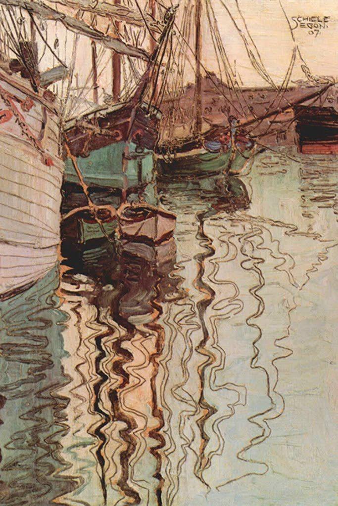 Sailboats in the Moving Water - Trieste, Italy, by Egon Schiele