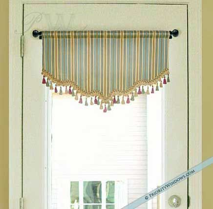 blue and gold curtain, perfect for door or small window