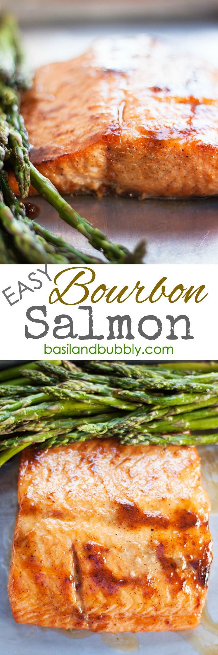 I found a SUPER EASY Bourbon Salmon recipe for a quick weeknight dinner.