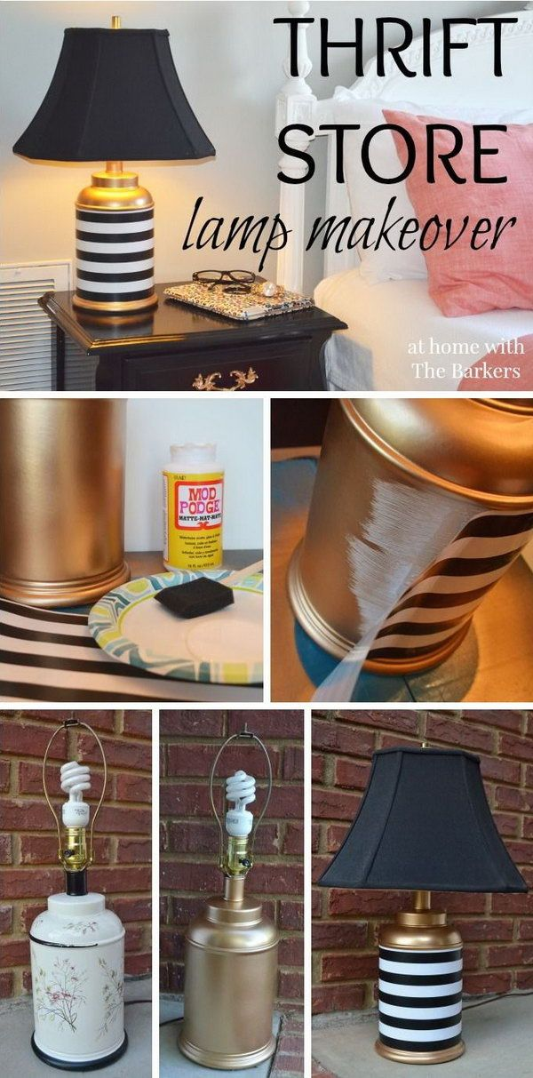 Mod Podge Lamp. Use gift wrap paper and Mod Podge to decorate the lamp. So creative and inspiring. http://hative.com/cool-and-easy-diy-mod-podge-crafts/