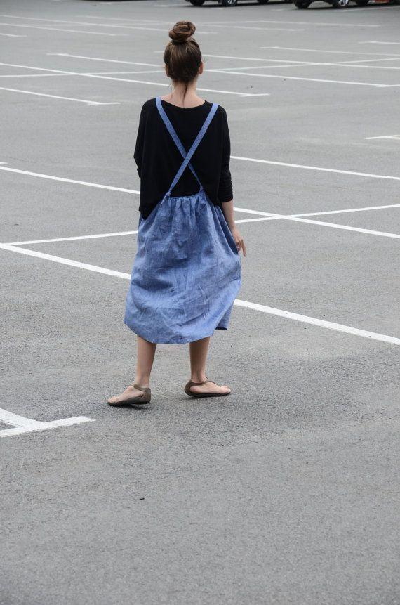 SALE Womens Linen Overall Dress Denim Blue Azure by DALEKO