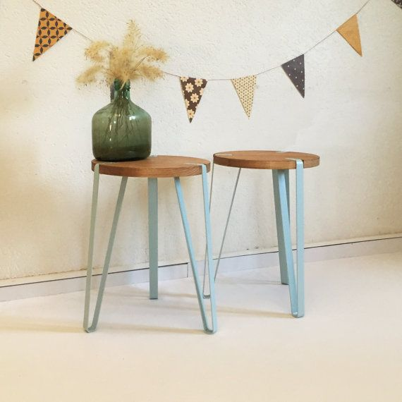 wood and metal stool, or living room or bedside table by ChouetteFabrique. Blue gray paint color on legs.