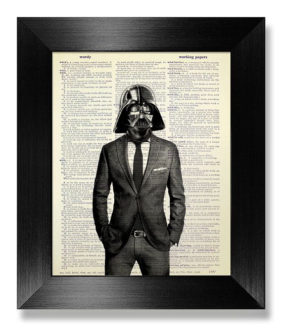 Star Wars Print, OFFICE Decor, DORM Room Decor, Unique Wedding Gift Man Him Boyfriend, College GRADUATION Gift, Darth Vader Wall Art in Suit