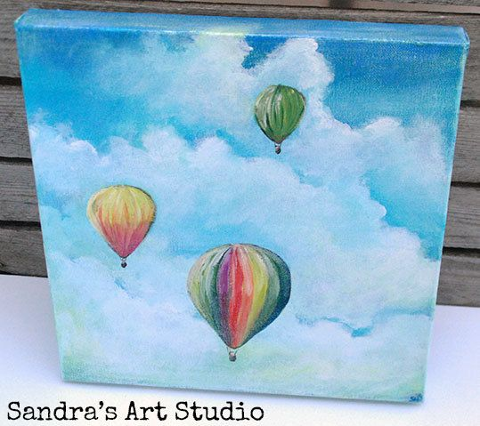 "New to SandraArtStudio on Etsy: Colorful painting ""Hot air balloons"" Original acrylic painting (11 3/4"" x 11 3/4""  with a 1 3/16""  edge) (75.00 EUR)                                                                                                                                                                                 More"