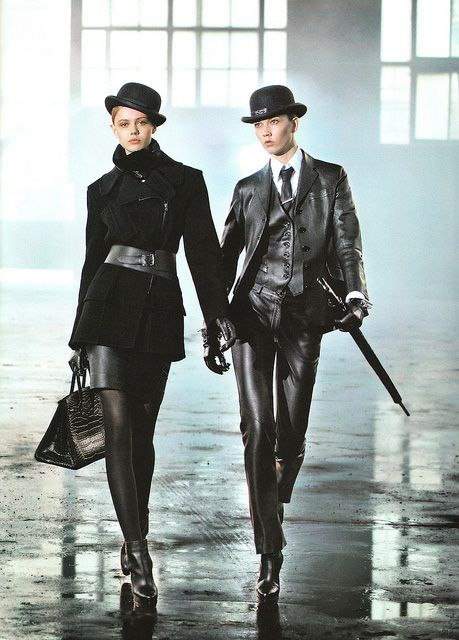 "designerleather: ""I am generally not a big fan of the ""boy look"" on women, but Frida Guvtavsson and Karlie Kloss knock it out of the park for Hermes. The leather 3-piece suit is killer! """