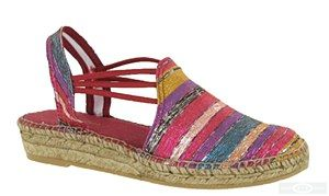 Toni Pons Nadira ladies slingback traditional Spanish made espadrille with soft striped metallic linen-look canvas uppers, elasticated straps and stitch detailing. Heel height approx. 30mm.  Size: 36, 37, 38, 39, 40, 41, 42. http://www.robineltshoes.co.uk/store/product/171144/Toni-Pons-Nadira-Ladies-Slip-On-Slingback-Espadrille-Sandal/ #summer #espadrille #sandals #womensfashion #shoes #holidays #wedges