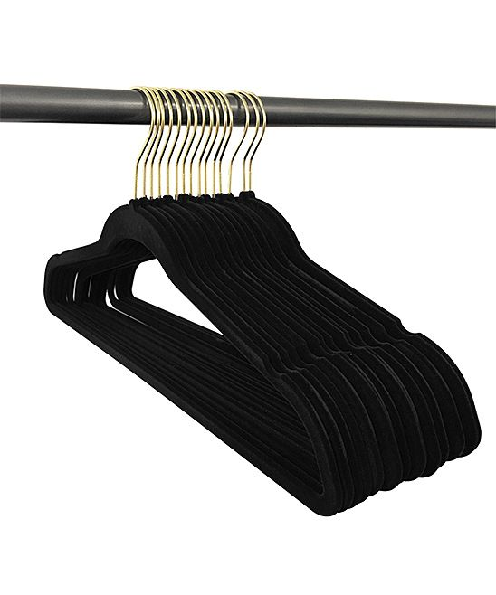 Gold Hook Black Velvet Hangers - Set of 50