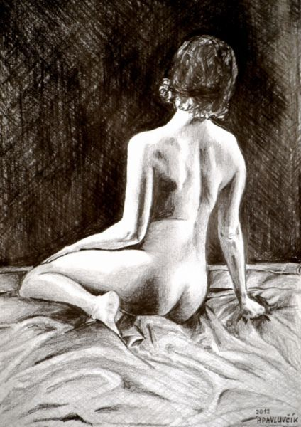 Peter Pavluvcik - naked female figure, drawing, pencil 6.