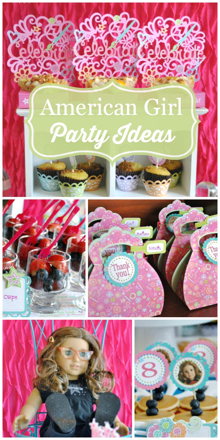 Bring the dolls for this amazing American Girl birthday breakfast party in pink and green!  See more party ideas at CatchMyParty.com!