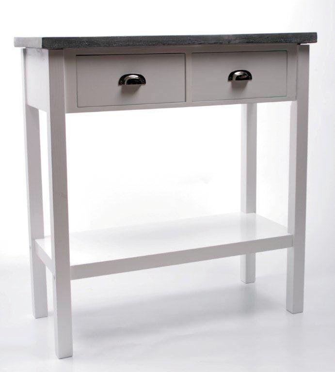 Köp - 1995 kr! Avlastningsbord Hugo med 2 lådor - Vit. Avlastningsbord i vitt trä med 2 lådor och en förvaringshylla.