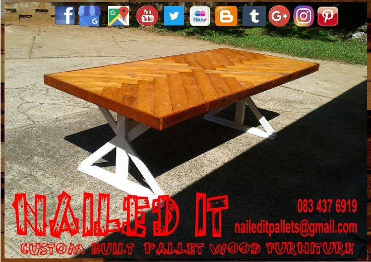 Eight seater dining room table with white frame & mahogany top finished. Affordable pallet wood furniture designed by you, built by us. For more info, contact 0834376919 or naileditpallets@gmail.com #farmstyletable #palletfarmstyletable #palletdiningtable #palletwooddiningtable #diningtable #naileditcustombuiltpalletfurniture #nailedpalletfurnituredurban #customtableideas #customfurniture #custompalletfurnituredurban #custompalletfurniture
