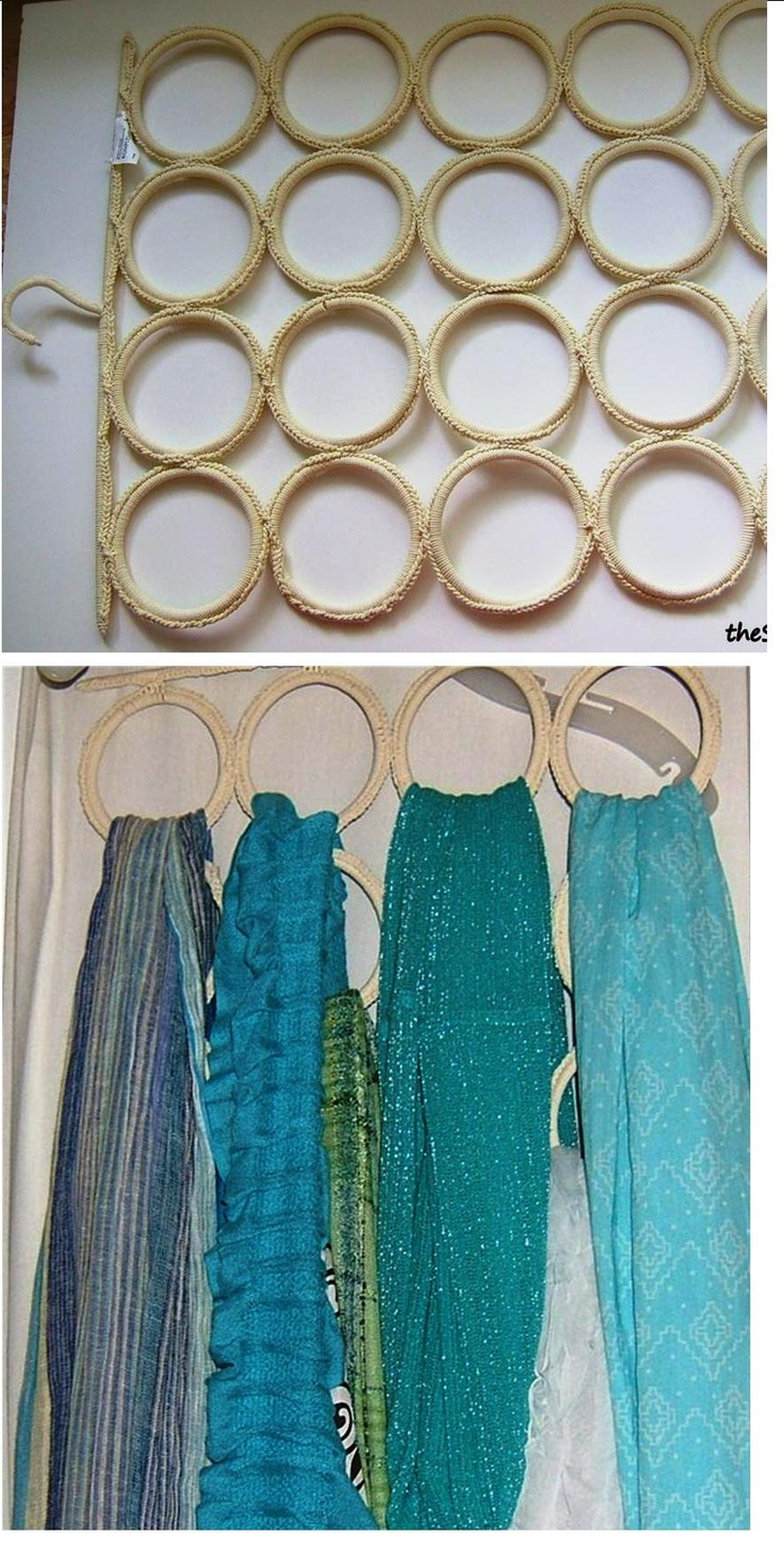 organizing scarves!! saw this on http://www.thesinglenester.com