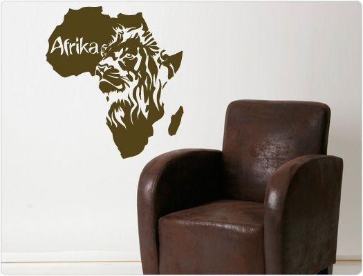 Wandtattoo Afrika Karte mit Löwe