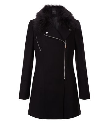 Black Faux Fur Collar Longline Biker Coat