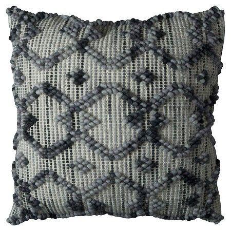 "Natural/Grey Diamond Pattern Throw Pillow (20""x20"") - Rizzy Home® : Target"