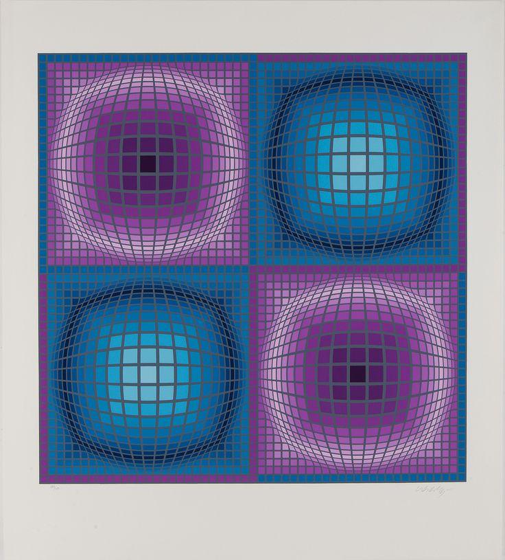 """Victor Vasarely """"Diorre"""" Serigrafía Año: 1986 Dimensiones: 85 x 76 cm Tirada de 250 ejemplares Firmada y numerada a mano Precio: Consultar web  Web: www.grabadosylitografias.com Más información: galeria@grabadosylitografias.com"""
