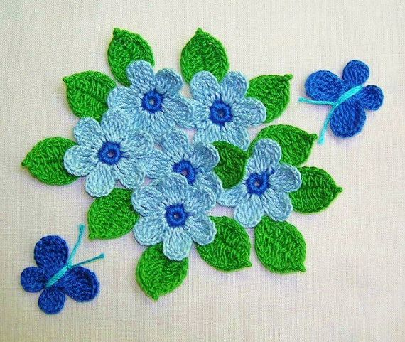 6 häkeln blaue Gänseblümchen von shina auf Etsy