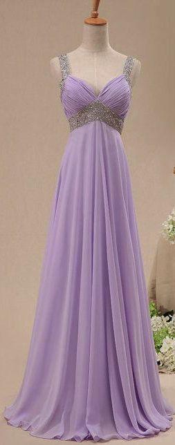 Crystal Straps Chiffon Long Prom Dress
