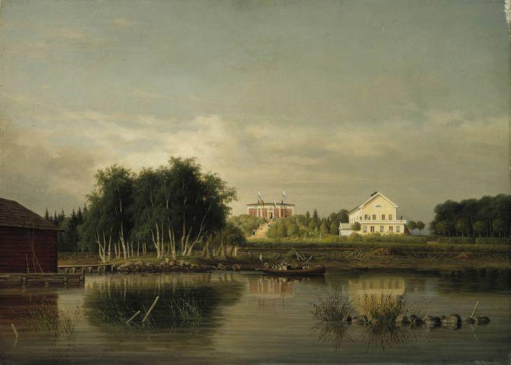 """""""Honkolan kartano Urjalassa"""" 1867 Magnus von Wright (1805-1868) - Taidemaalar.ura jäi välillä sivuun suurperh.elätt.liitt.vaikeuks.vuoksi.Lisäansioina Magnus otti vast.eril.tilaustöitä,aatelisvaakun.ja lääketiet.kuvituks.ja antoi 1830-l.alusta asti piir.ja kaunokirjoit.opet.yksit.ja useissa h:kiläiskoul. ja jatkoi myös kivipiirr.taitoj.hiomista painaaks.piirust.opetuks.tarpeis.suunnittelem.mallilehtisalkkuja.Myöh.hän osall.maisemapiirustuksill.Finland framställdt i teckningar-teoksen…"""