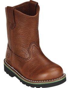 John Deere Toddler Boys Johnny Popper Roper Western Boots - Round Toe, Brown