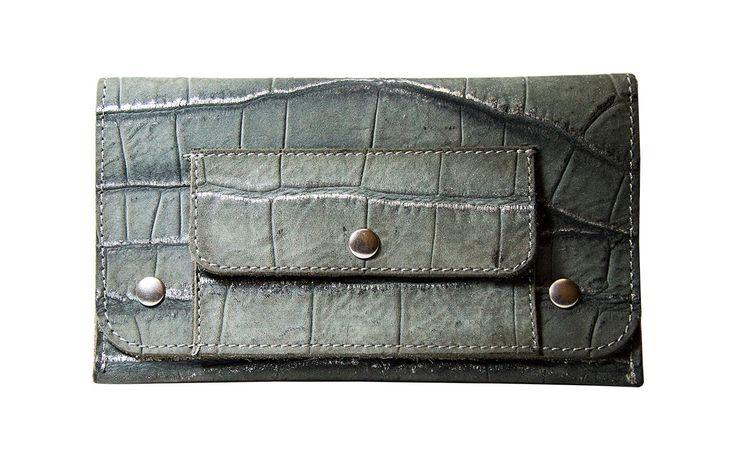 PORTATABACCO in vera pelle - stampa coccodrillo grigio/argento di EtabetaArtigiano su Etsy