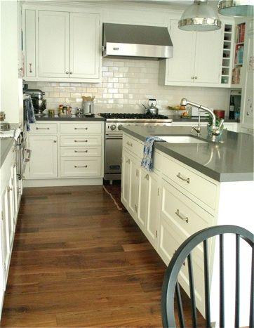 kitchens - Restoration Hardware Clemson Pendant ivory kitchen cabinets ivory kitchen island gray quartz countertops sink in kitchen island subway tiles backsplash