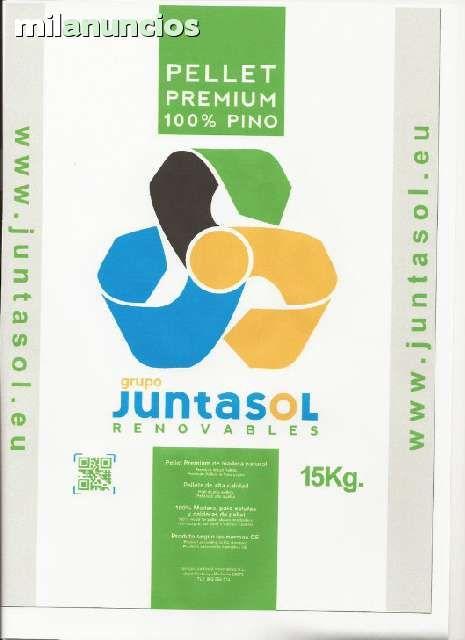 . PELLETS DE MADERA  Pellet de madera con certificado PREMIUN 100 % PINO  categoria A-1. Humedad-8%, cenizas7%, finos1%, durabilidad98%, Kcal/Kg 4600, azufre0. 0,2%, cloro0. 02%. Sacos de 15Kg. Vendemos y distribuimos todo tipo de biomasas para estufas, c