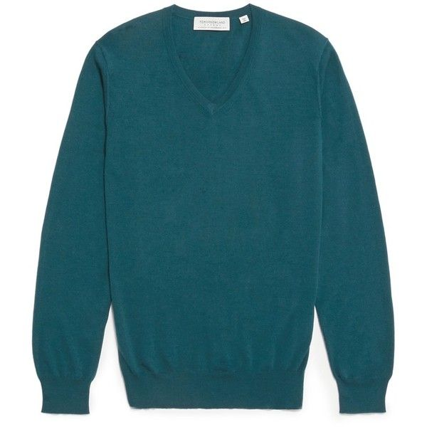 Tomorrowland Wool blend V-neck sweater (€265) ❤ liked on Polyvore featuring men's fashion, men's clothing, men's sweaters, green, mens v neck sweater, mens green v neck sweater, mens green sweater and mens vneck sweater