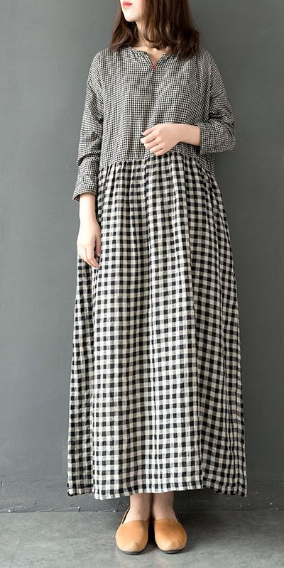Vintage Quilted Plaid Linen Maxi Dresses For Women Q28012