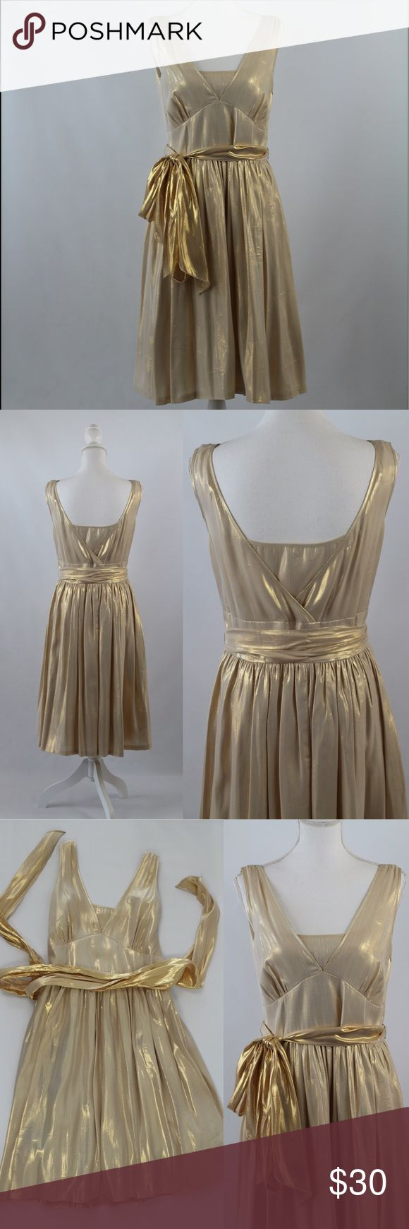 Calvin Klein Silk Blend Metallic Party Dress This festive, shimmery dress by Calvin Klein is double lined and has beautiful movement. Very minimal signs of wear (pictured; the red stain shown is on the INSIDE bodice and not visible whatsoever on the outside - can be removed through dry-cleaning). Size 12. Calvin Klein Dresses Midi