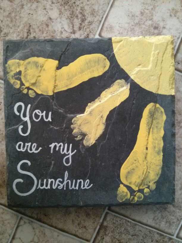 DIY: mother's day footprint stepping stones. You are my sunshine. These turned out so cute. The grandmas love them and they look super cute in their flower gardens