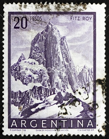 Postage stamp Argentina 1955 Mt. Fitz Roy, Mountain in Patagonia —